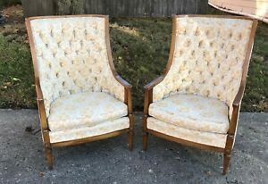 Hollywood Regency Tufted Arm Chairs French Provincial Sam Moore