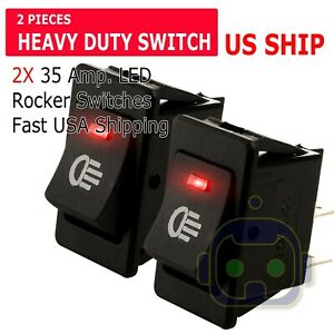 2x Red Led 12v 35amp Heavy Duty Toggle Flick Switch On off Car Dash Light Spst