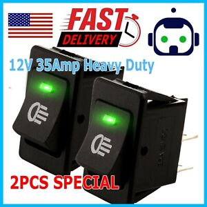 2x Green Led 12v 35amp Heavy Duty Toggle Flick Switch On off Car Dash Light Spst