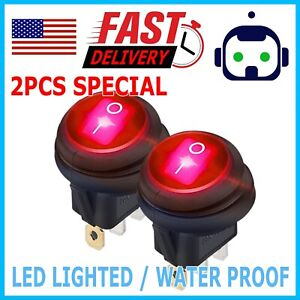 2x 12v 20a Waterproof Round Red On Off Rocker Switch Car Auto Boat Spst Marine