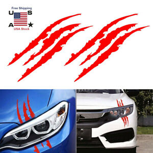 2 Pcs Monster Claw Scratch Decal Reflective Sticker For Car Headlight Decor Tp