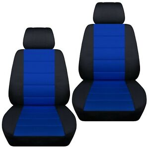 Front Set Car Seat Covers Fits 2005 2020 Toyota Tacoma Black And Dark Blue