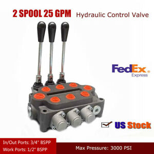 3 Spool 25 Gpm Hydraulic Directional Control Valve Double Acting Cylinder Spool
