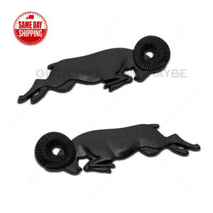 2pcs Black 3d Leaping Ram Body Fender Badge Emblem Nameplates For Ram Dodge