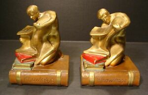 Antique Art Deco Polychrome Bronze Pair Of Book Of Knowledge Bookends Wow