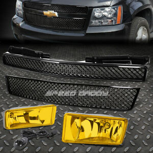 Front Bumper Meshed Grille Guard amber Fog Light For 07 12 Chevy Tahoe suburban