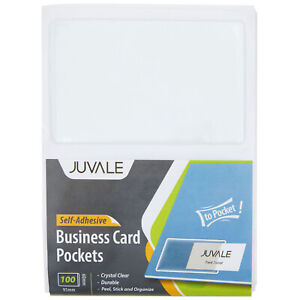 100 pack Self adhesive Business Card Holders Pockets Open On Short Side Clear