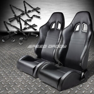 Reclinable Pvc Carbon Style Leather Racing Seat 2 6 Points Camlock Black Belt
