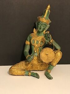 Antique 19th Century Thai Prince Musician Gilded Bronze Statue Gong Music Player