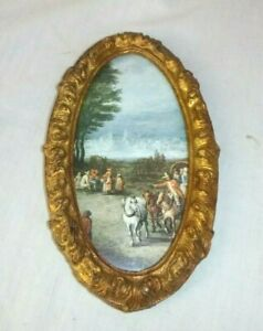 Vtg Oval Gold Ornate Gesso Picture Frame W Italian Countryside Print 5 X 8