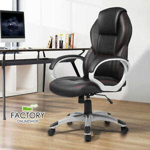 High Back Leather Office Chair Executive Boss Computer Desk Seat Red Stitch