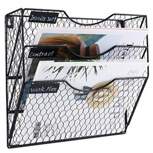 Wall File Holder Hanging Mail Organizer Metal Chicken Wire Wall Mount Magazine