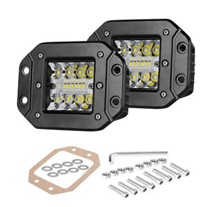 2x5 flush Mount Led Cube Pods Lights Backup Reverse Front Rear Bumper Fog Lights
