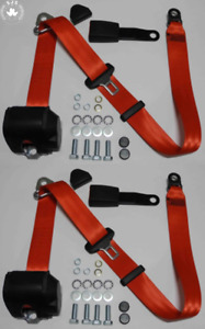 Three Point Automatic Seat Belt Set For Mg Mga Mgb Td And Others Red
