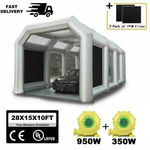 28x15x10ft Inflatable Spray Paint Booth Tent With Two Blowers 950w 350w