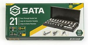 Sata 21 piece Pass thru Socket Set 3 8 inch Drive Metric sae Sizes St09134sj