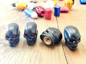4x Black Skull Tire Wheel Universal Valve Stem Caps Covers Car Motorcycle