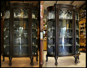 Antique Oak Leaded Curved Glass Curio China Cabinet Carved Heads Eagle Clawfeet