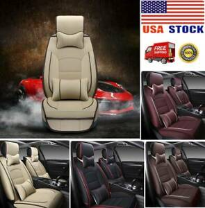 5 Seats Suv Pu Leather Car Full Set Seat Cover Front Rear W Pillows Cushions Us