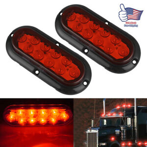2x 6 10led Trailer Truck Boat Red Flange Mount Oval Stop Turn Tail Brake Lights