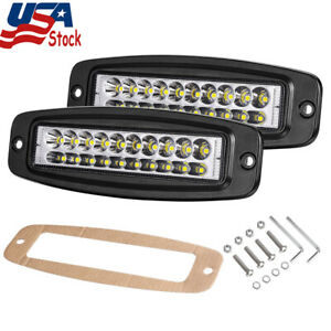 2x6 in 200w Flush Mount Led Work Light Bar Pods Off Road Driving Fog Lamps 6500k