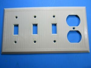 Leviton Ivory Ribbed 3 Ganged Switch Outlet Cover Plate