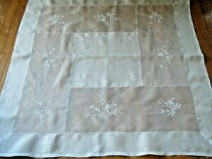 Old Tablecloth Luncheone Vtg Rice Linen W Raised Embr Ry Whitework Set 6 Napkins