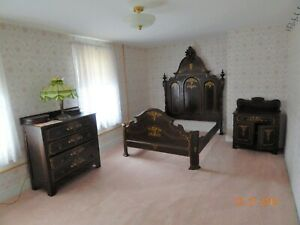 Victorian 8 Piece Bedroom Set Bed Dresser Washstand Chairs And Quilt Rack