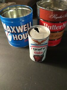 Maxwell House Butternut grafs cola bicentinal Vintage Tin Cans