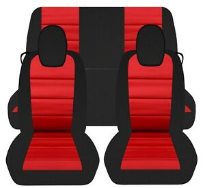 Fits 2010 2015 Chevy Camaro Front And Rear Car Seat Covers Black And Red