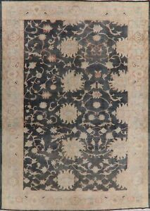 Antique Vegetable Dye Floral Charcoal Oushak Turkish Area Rug Hand Knotted 9x12