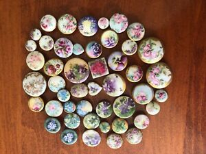 Collection Of 47 Hand Painted Victorian Porcelain Stud Buttons 5 8 1 3 8