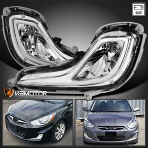For 2012 2017 Hyundai Accent Clear Drivinf Bumper Fog Lights Lamps Switch L R
