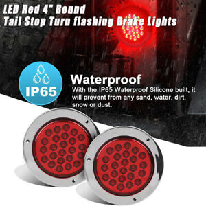 New 2pcs 4 Round Red 24 Led Trailer Truck Brake Stop Turn Tail Light Kits