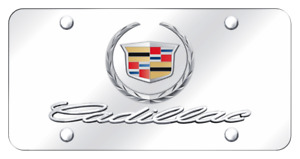 Cadillac New Chrome Logo Mirror Polished Chrome License Plate Official Licensed