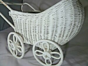 White Wicker Doll Carriage Vintage Baby Carriage Toy