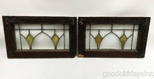 2 Antique Chicago Stained Leaded Glass Transom Windows 20 X 12