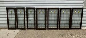2 Of 3 Antique Chicago Stained Leaded Glass Windows Door 42 X 17