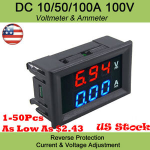 Dual Digital Voltage Meter Gauge Dc 100v 10a Voltmeter Ammeter Blue Red Led Amp