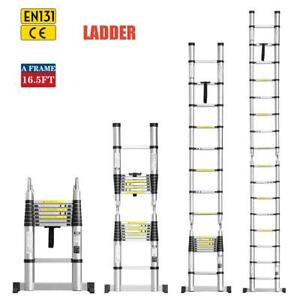 16 5ft Aluminum Telescopic Extension Ladder Multi purpose Scaffold Heavy Duty