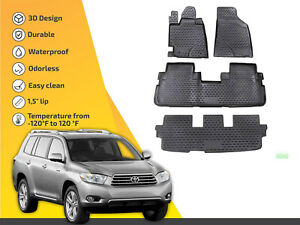 3d Floor Liner Mats Tpe For Toyota Highlander 2010 2014 4pc Full Set