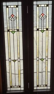 Pair Of Antique Stained Clear Leaded Glass Doors Windows 48 X 13