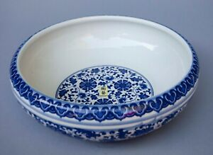 Vintage Chinese Porcelain Blue White 12 Bowl Signed