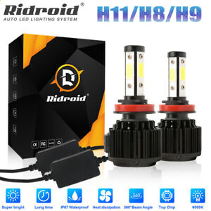 4 Side H11 H8 H9 Led Headlight Kits High Power Bulbs 6000k Canbus 120w 32000lm
