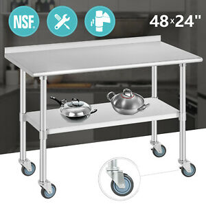 Commercial Prep Work Table 48 x24 Stainless Steel Kitchen W casters Backsplash