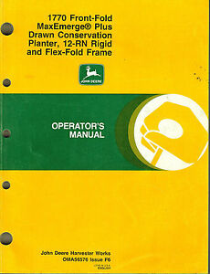 John Deere 1770 Front f Maxemerge Plus Planter Operator s Manual new Jd 1996