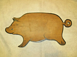 Vintage Wooden Pig Cutting Or Bread Board Red Paint An Black Paint Old