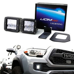 Sae Compliant Led Fog Light W Mounting Brackets Wires For 16 up Toyota Tacoma