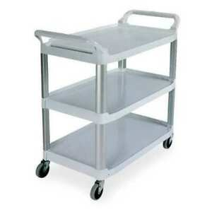Rubbermaid Fg409100gray Plastic Raised Handle Utility Cart 300 Lb Capacity