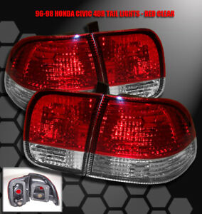 For 96 97 98 Honda Civic Sedan 4dr Altezza Tail Brake Lights Red clear Dx Ex Lx